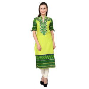 Buy Prakhya Jaipur Embroidered Womens Long Straight Green Cotton Kurti (code - Sw725green) online
