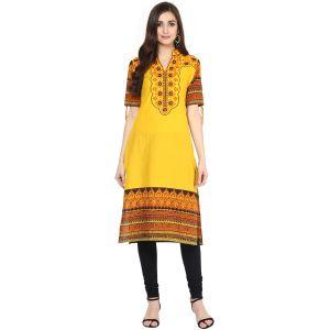 Buy Prakhya Jaipur Embroidered Womens Long Straight Yellow Cotton Kurti (code - Sw725yellow) online
