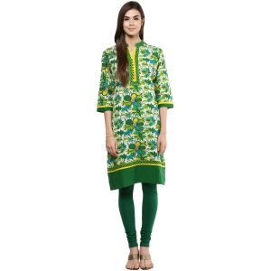 Buy Prakhya Jaipur Printed Womens Long Straight Green Cotton Kurti online