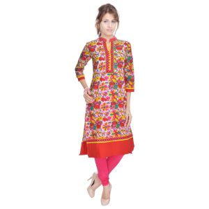 Buy Prakhya Jaipur Printed Womens Long Straight Pink Cotton Kurti (code - Sw732pink) online