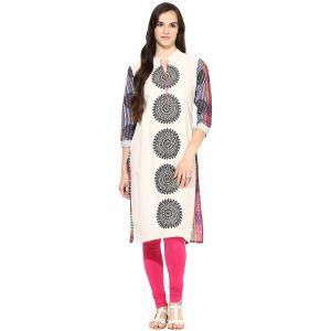 Buy Prakhya Jaipur Embroidered Womens Long Straight Pink Cotton Kurti (code - Sw734pink) online