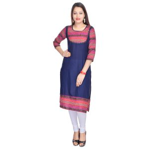 Buy Prakhya Jaipur Printed Womens Long Straight Blue-pink Cotton Kurti (code - Sw751bluepink) online