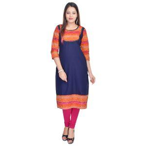 Buy Prakhya Jaipur Printed Womens Long Straight Blue-yellow Cotton Kurti (code - Sw751blueyellow) online