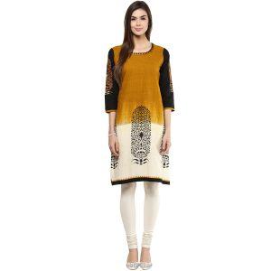 Buy Prakhya Jaipur Printed Womens Long Straight Yellow Cotton Kurti (code - Sw752yellow) online