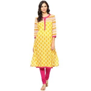 Buy Prakhya Jaipur Printed Womens Long Straight Yellow Cotton Kurti (code - Sw753yellow) online