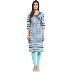 Buy Prakhya Jaipur Printed Womens Long Straight Blue Cotton Kurti (code - Sw754blue) online