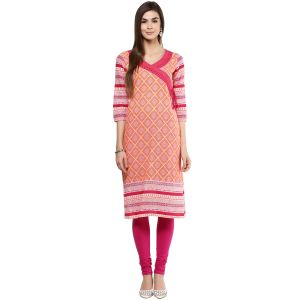 Buy Prakhya Jaipur Printed Womens Long Straight Orange Cotton Kurti online