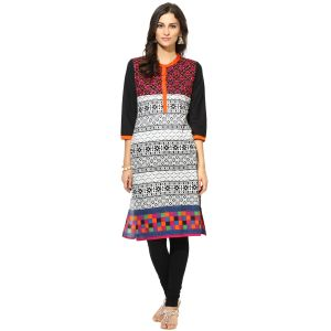 Buy Prakhya Jaipur Printed Womens Long Straight Orange Cotton Kurti (code - Sw755orange) online