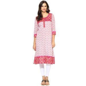 Buy Prakhya Jaipur Printed Womens Long Straight Pink Cotton Kurti (code - Sw756pink) online