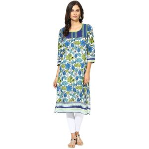 Buy Prakhya Jaipur Printed Womens Long Straight Blue Cotton Kurti (code - Sw758blue) online