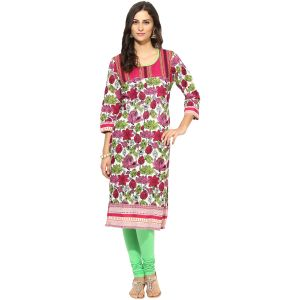 Buy Prakhya Jaipur Printed Womens Long Straight Pink Cotton Kurti (code - Sw758pink) online