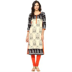 Buy Prakhya Jaipur Printed Womens Long Straight Orange Cotton Kurti (code - Sw759orange) online