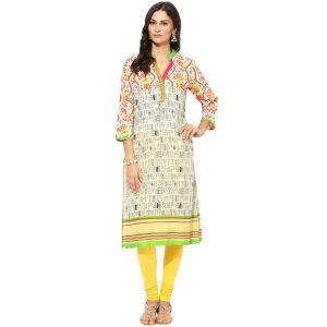 Buy Prakhya Jaipur Printed Womens Long Straight Green Cotton Kurti (code - Sw760green) online