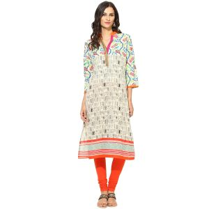 Buy Prakhya Jaipur Printed Womens Long Straight Orange Cotton Kurti (code - Sw760orange) online