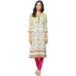 Buy Prakhya Jaipur Printed Womens Long Straight Purple Cotton Kurti online