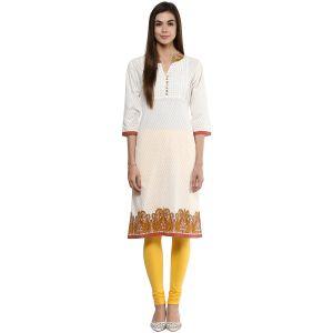Buy Prakhya Jaipur Printed Womens Long Straight Yellow Cotton Kurti (code - Sw764yellow) online
