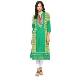 Buy Prakhya Jaipur Embroidered Womens Long Straight Green Cotton Kurti online
