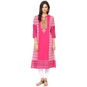Buy Prakhya Jaipur Embroidered Womens Long Straight Pink Cotton Kurti (code - Sw765pink) online
