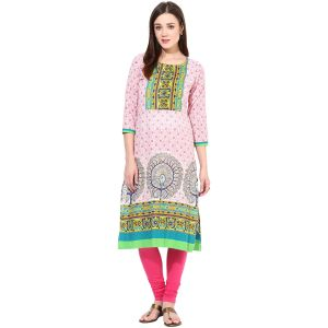 Buy Prakhya Printed WoMen's Long Straight Cotton Kurta online