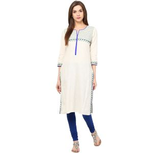 Buy Prakhya Embroidered WoMen's Long Straight Cotton Kurta online
