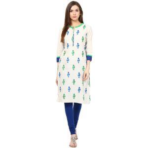 Buy Prakhya Jaipur Embroidered Womens Long Straight Blue Cotton Kurti (code - Sw829blue) online