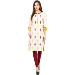 Buy Prakhya Jaipur Embroidered Womens Long Straight Yellow Cotton Kurti (code - Sw829yellow) online
