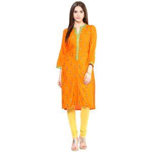 Buy Prakhya Jaipur Embroidered Womens Long Straight Rayon Kurti (code - Sw830orange) online