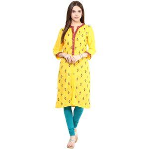 Buy Prakhya Jaipur Embroidered Womens Long Straight Rayon Kurti (code - Sw830yellow) online