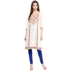 Buy Prakhya Jaipur Embroidered Womens Long Straight Pink Cotton Kurti (code - Sw831pink) online