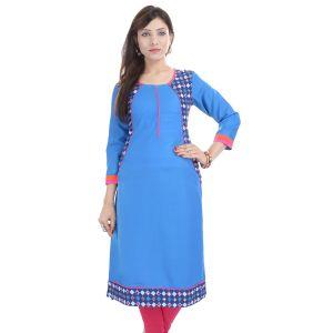 Buy Prakhya Jaipur Solid Womens Long Straight Rayon Kurti (code - Sw833blue) online