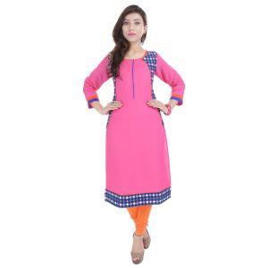 Buy Prakhya Jaipur Solid Womens Long Straight Rayon Kurti (code - Sw833pink) online