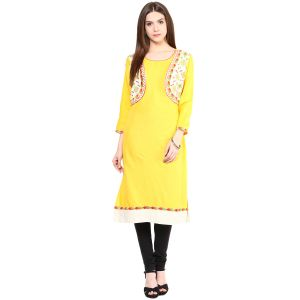 Buy Prakhya Jaipur Solid Womens Long A-line Yellow Flex Kurti (code - Sw834yellow) online