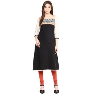 Buy Prakhya Jaipur Embroidered Womens Long Straight Orange Flex Kurti online