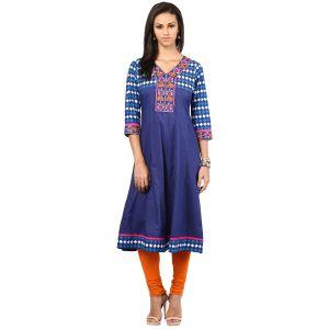 Buy Prakhya Jaipur Embroidered Womens Long Straight Rayon Kurti (code - Sw839orange) online