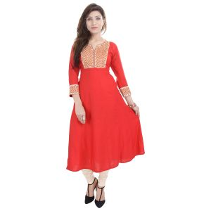 Buy Prakhya Jaipur Embroidered Womens Long A-line Red Rayon Kurti (code - Sw841red) online