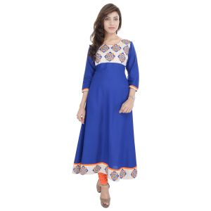 Buy Prakhya Jaipur Embroidered Womens Long Anarkali Blue Rayon Kurti online