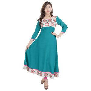 Buy Prakhya Jaipur Embroidered Womens Long Anarkali Green Rayon Kurti (code - Sw842green) online