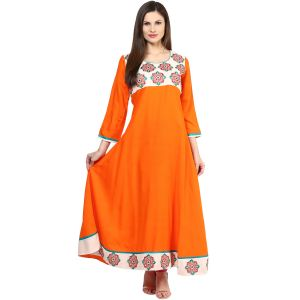 Buy Prakhya Jaipur Embroidered Womens Long Anarkali Orange Rayon Kurti online