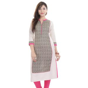 Buy Prakhya Jaipur Printed Womens Long Straight Pink Flex Kurti online