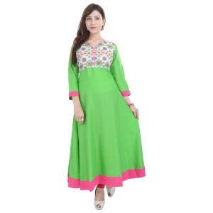 Buy Prakhya Jaipur Embroidered Womens Long A-line Green Rayon Kurti (code - Sw844green) online