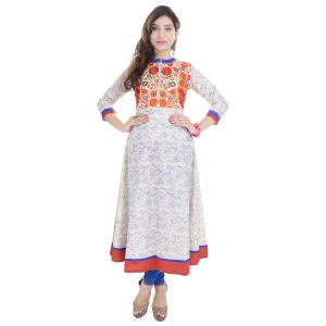Buy Prakhya Jaipur Embroidered Womens Long A-Line Blue Rayon Kurti online