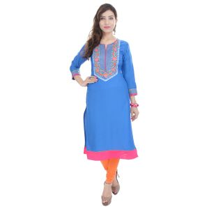 Buy Prakhya Jaipur Embroidered Womens Long A-line Blue Rayon Kurti (code - Sw846blue) online