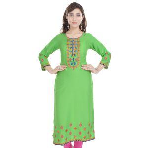 Buy Prakhya Jaipur Embroidered Womens Long Straight Rayon Kurti (code - Sw849green) online