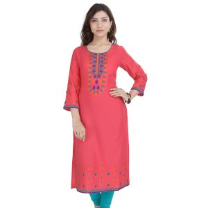 Buy Prakhya Jaipur Embroidered Womens Long Straight Rayon Kurti (code - Sw849pink) online