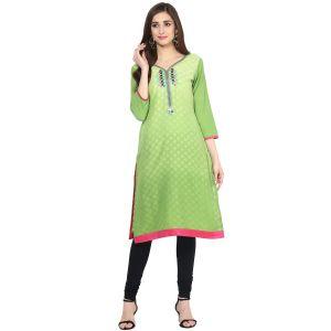 Buy Prakhya Jaipur Printed Womens Long Straight Green Cotton Kurti (code - Sw850green) online