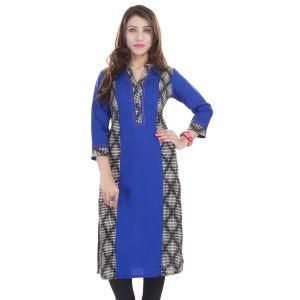 Buy Prakhya Jaipur Printed Womens Long Straight Rayon Kurti (code - Sw852blue) online