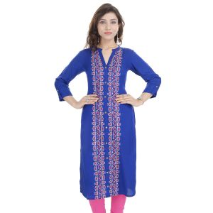 Buy Prakhya Jaipur Embroidered Womens Long Straight Rayon Kurti (code - Sw853blue) online