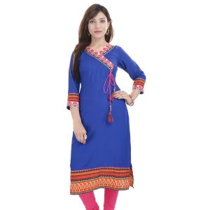 Buy Prakhya Jaipur Printed Womens Long Straight Rayon Kurti (code - Sw854blue) online