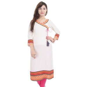 Buy Prakhya Jaipur Printed Womens Long Straight Rayon Kurti (code - Sw854white) online