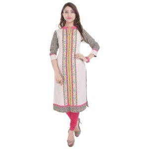 Buy Prakhya Jaipur Printed Womens Long Straight Multicolor Flex Kurti (code - Sw855multicolor) online